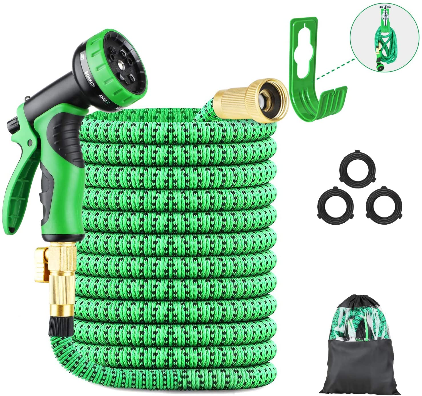 LANDTAIX EXPANDABLE GARDEN HOSE WATER HOSE 50FT GARDEN HOSE DURABLE LEAKPROOF LIGHTWEIGHT RETRACTABLE HOSE HOLDER & 9 FUNCTION NOZZLE DURABLE SOLID BRASS FITTINGS GREAT FOR WATERING WASHING