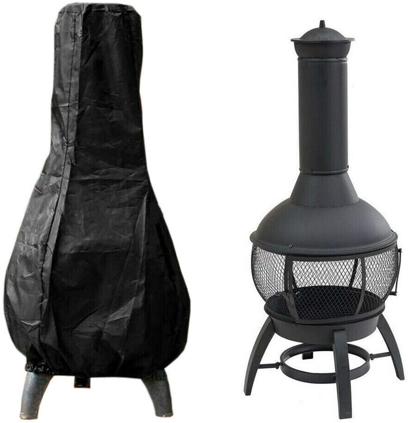 야외 파티오 치미나 커버 방수 정원 파티오 히터 스토브 먼지 커버 야외 뒷마당화재 구덩이 히터 보호 커버 (블랙)
