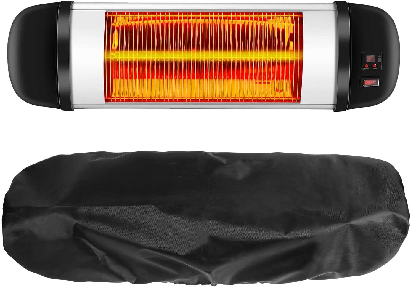 PONWEC PATIO HEATER COVER 400D OXFORD CLOTH MADED ELECTRIC HEATER COVER WATERPROOF AND DUST-PROOF INFRARED HEATER COVERS 24 MONTHS OF USE 30`` H X 9.5 D X 8.7 B IN BLACK