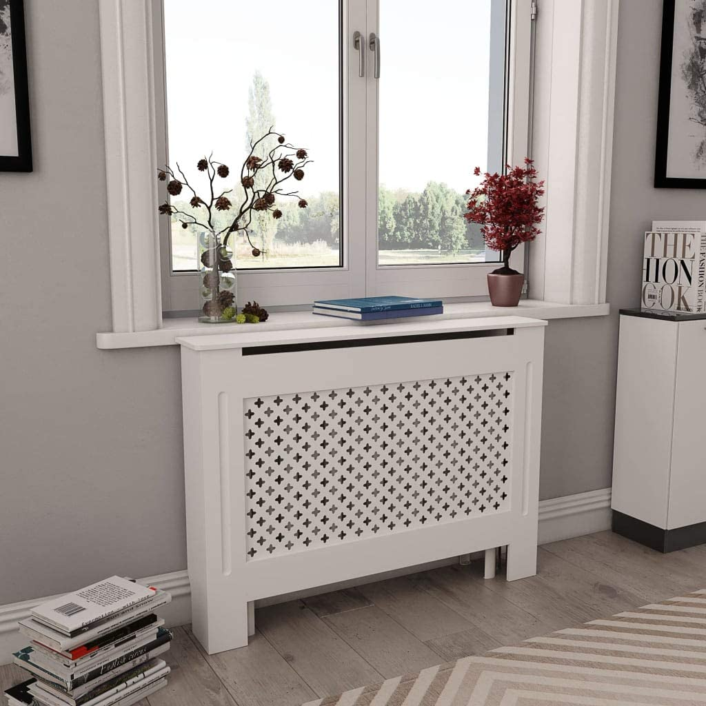WWZH WHITE RADIATOR COVER HEATING COVER CABINET MDF 44.1X7.5X32.1