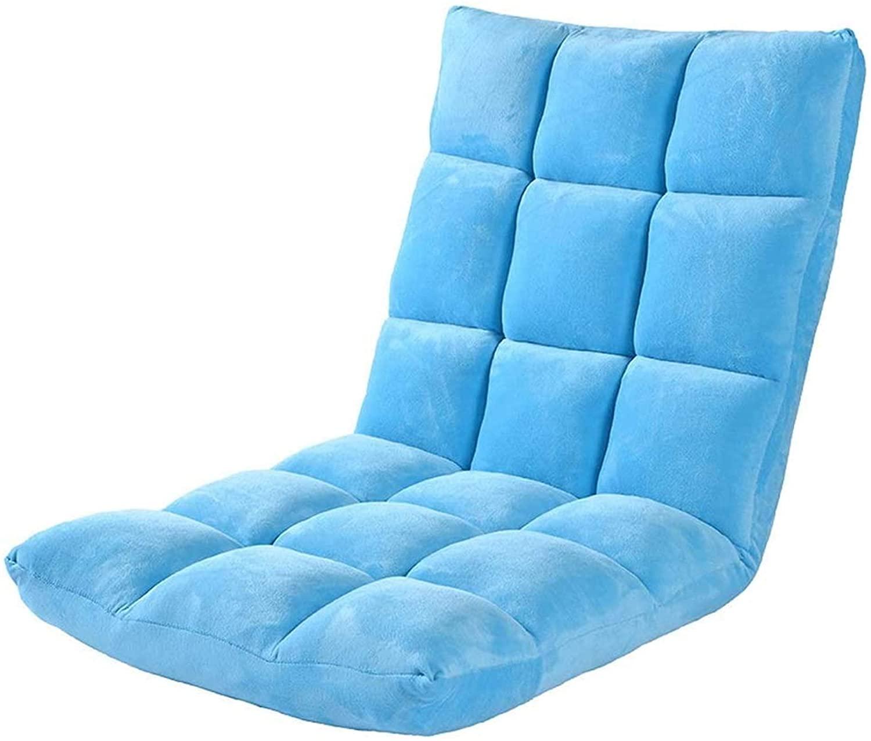 에릭 시안 제로 중력 라운저 게으른 소파 침대 바닥 라운저 접이식 단일 작은 바닥 의자 백 서포트 조절 식 좌석 쿠션 명상 독서 시청 (색상 : 빨간색) (색상 : 파란색)