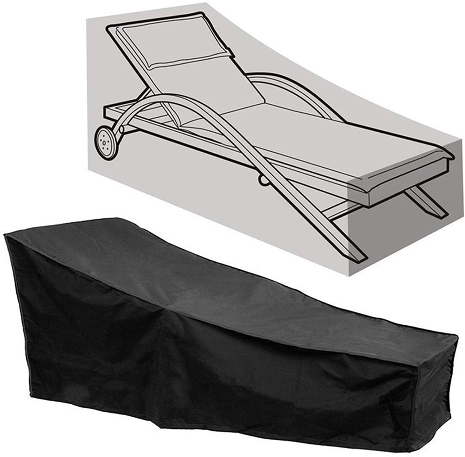 PATIO CHAISE LOUNGE COVER WATERPROOF SUNLOUNGER COVEROUTDOOR LOUNGE CHAIR COVER ANTI-UV AND DUSTPROOF LAWN FURNITURE COVER (BLACK 1)