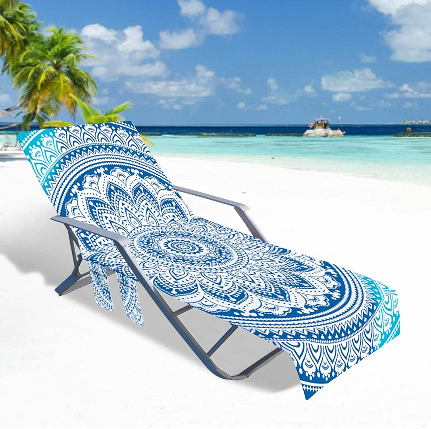 BEACH MAT BEACH RECLINER TOWEL COVER SIDE POCKETS MICROFIBER CHAISE LOUNGE CHAIR COVER FOR SUN LOUNGER SUNBATHING GARDEN BEACH HOTEL EASY TO CARRY AROUND OUTDOOR PATIO CHAIRS RECLINERS COVER