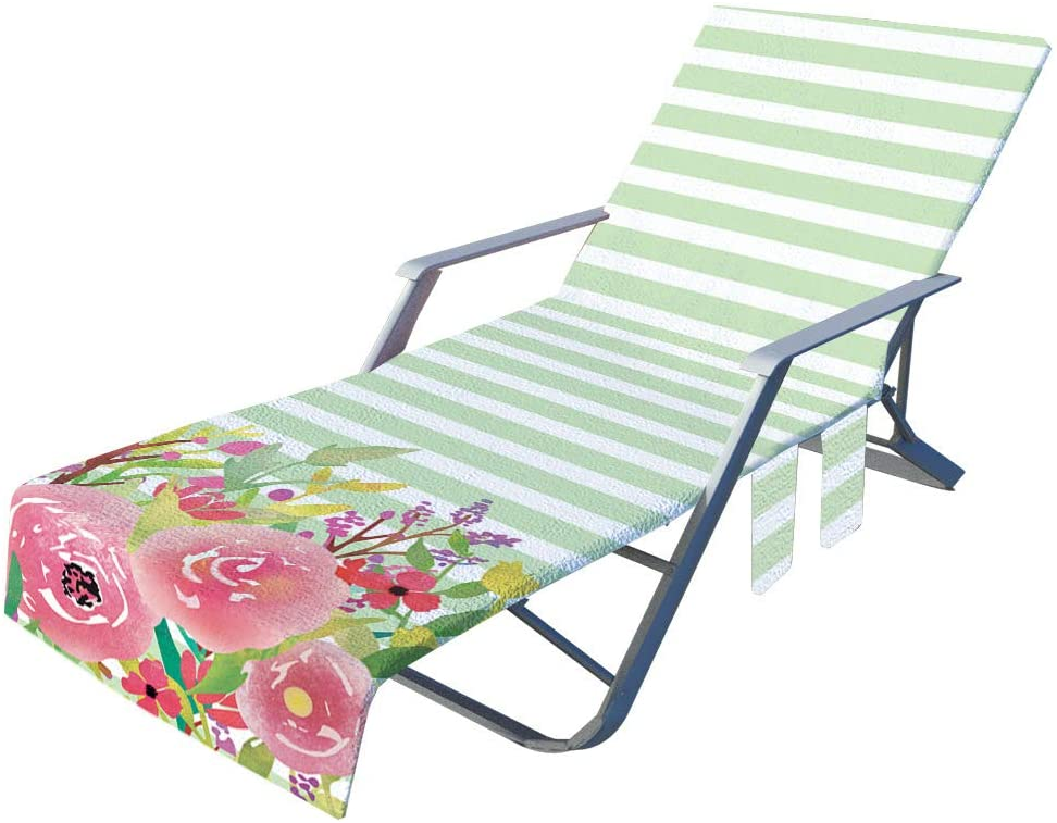 CNKOBE BEACH CHAIR COVER POOL LOUNGE CHAISE TOWEL COVER SIDE POCKETS HOLIDAYS SUNBATHING DRYING TOWELS