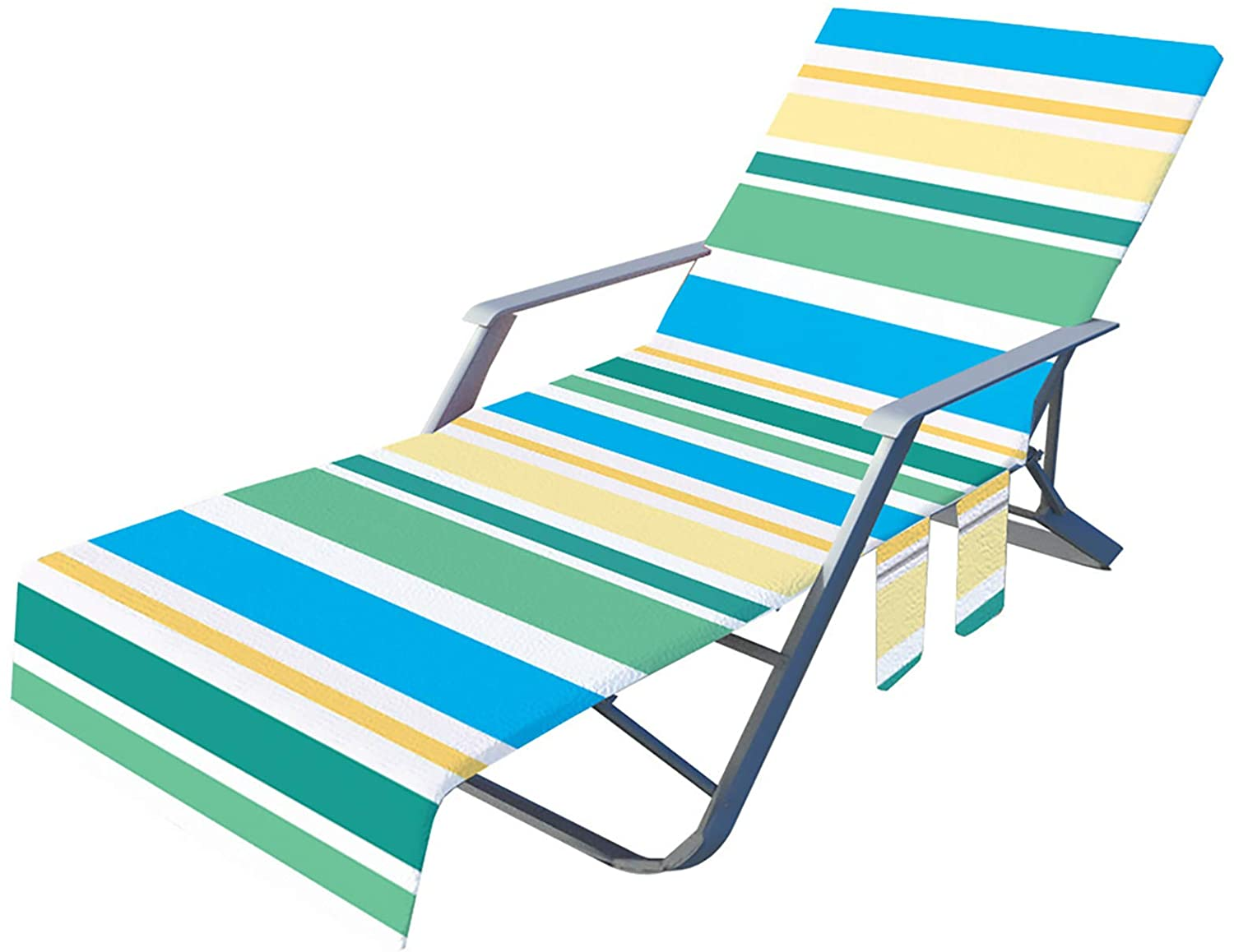 KEXLE BEACH CHAIR COVER POOL LOUNGE CHAISE TOWEL COVER LOUNGE CHAIR COVER SIDE POCKET FAST DRYING COVER FOR POOL HOTEL VACATION SUNBATHING EASY TO CARRY