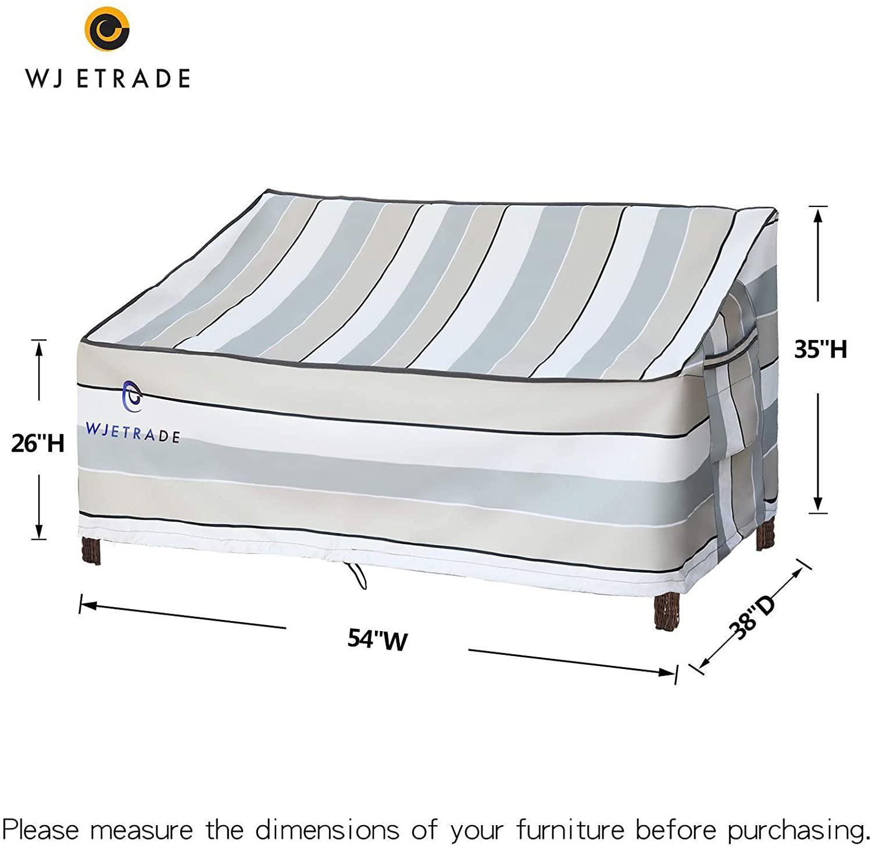 WJ ETRADE 안뜰 LOVESEAT 덮개 방수 UV 저항하는 퇴색 옥외 2 좌석 벤치 덮개 54WX38DX35H 줄무늬