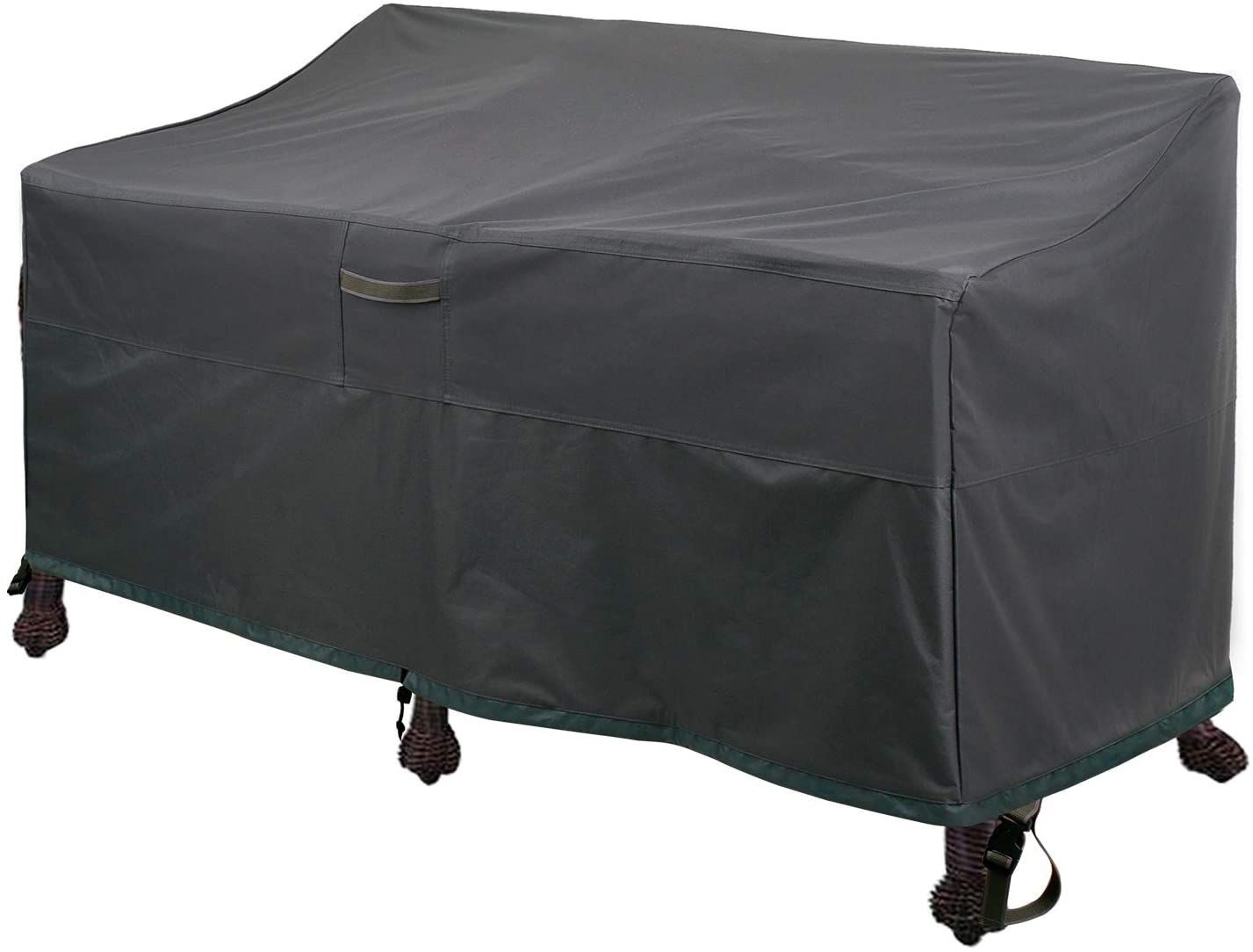 자 부속품 PATIO 깊은 벤치 세 덮개 방수 옥외 커 잔디밭 안뜰 가구를 덮개를 통풍구 어두운 회색(58LX32.5D X31H 회색)