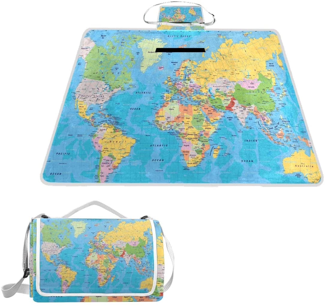 SLHFPX WORLD MAP LARGE PICNIC BLANKET MAT FOR OUTDOOR WATER-RESISTANT HANDY MAT TOTE FOR BEACH CAMPING YOGA BABY MAT 57 X 59