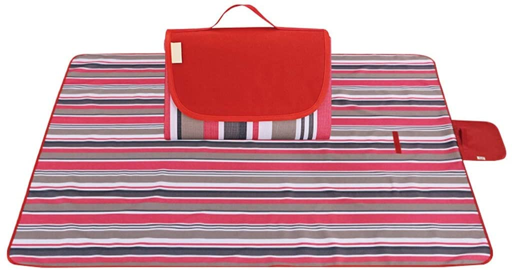 AILI PICNIC MAT,FOLDABLE OXFORD CLOTH STRIPED RED BLANKET,OUTDOOR CAMPING MOISTURE-PROOF MAT,CHILDREN`S FLOOR MAT GAME CARPET (COLOR : RED SIZE : 200200CM)
