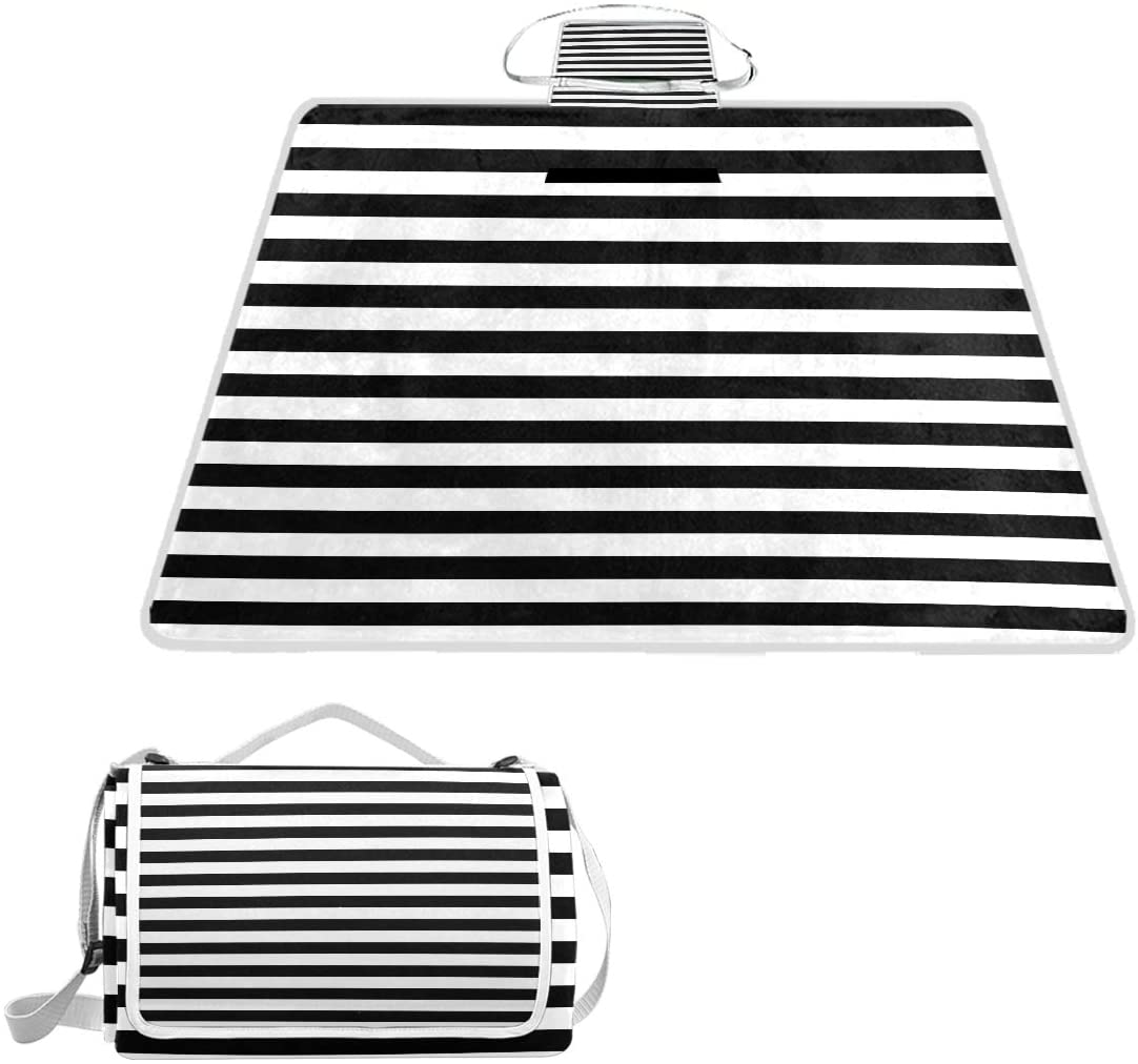 MAPOLO BLACK AND WHITE STRIPES PICNIC BLANKET WATERPROOF OUTDOOR BLANKET FOLDABLE PICNIC HANDY MAT TOTE FOR BEACH CAMPING HIKING