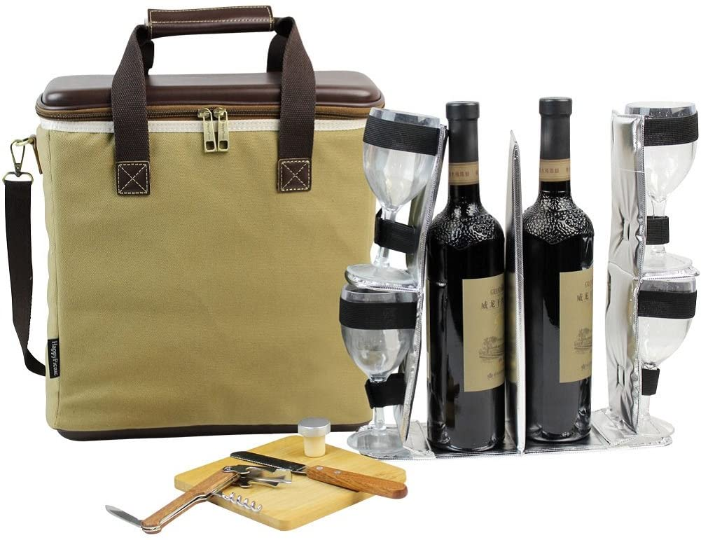3 BOTTLE HEAVY DUTY WINE COOLER BAG INSULATED WINE CARRIER FOR TRAVEL EVA MOLDED CHAMPAGNE CARRYING TOTE WINE & CHEESE SET 4 GLASSES WINE OPENER & STOPPER BAMBOO CHEESE BOARD KNIFE