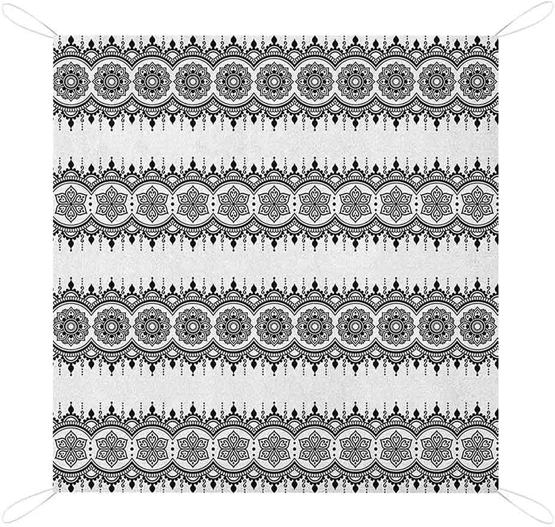 EILEEN FORD NOMORER HENNA BEACH BLANKET SANDPROOF BLACK WHITE DESIGN FLORAL ELEMENTS MONOCHROME TATTOO PATTERN SOUTH LIGHTWEIGHT BEACH MATPICNIC MATPICNIC BLANKET
