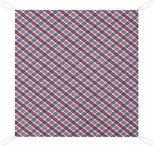 격자 무늬 야외 담요 대각선 줄무늬 골동품 향수 구성 프린트 비치 담요 버밀리언 네이비 블루 화이트 캠핑 매트 피크닉 담요와 체크 무늬