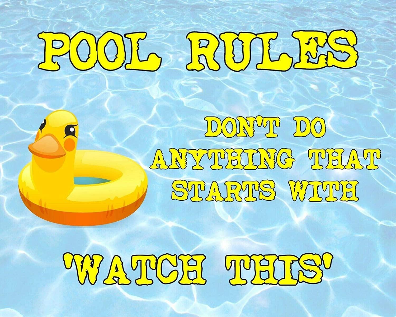 아멜리아 샤프 레트로한 경고 주석 기호 목록 215 수영장 규칙의 벽 장식을 경고 표시(12X8 인치)영 포스터 금속 표시