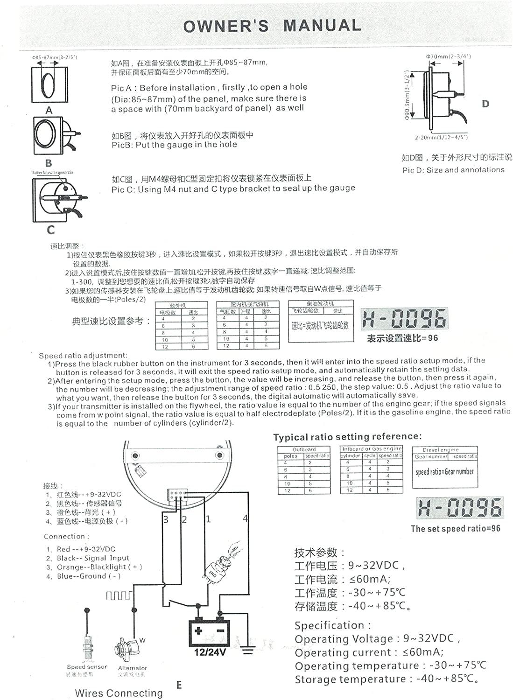 ELING UNIVERSAL TACHOMETER RPM REV COUNTER RPM HOUR METER 3000RPM 85MM 9-32V BACKLIGHT