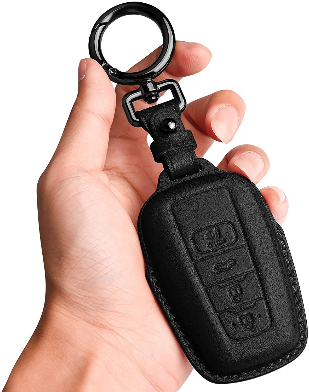 키체인을 장착한 도요타 키 포브 커버  가죽용 투켈렌 가죽 키 케이스 프로텍터 호환 도요타 RAV4 캠리 코롤라 아발론 C-HR 프리우스 GT86 하이랜더(키리스 이동만)-블랙