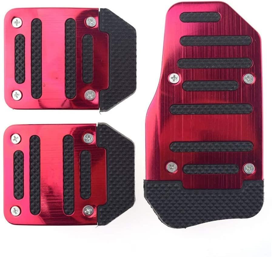 BININBOX 3 PC 미끄럼 방지 자동차 페달 패드 자동 스포츠 브레이크 및 가스 가속 페달 은 수동 변속기 자동차 (빨간색)에 대한 발 페달 패드 키트를 커버