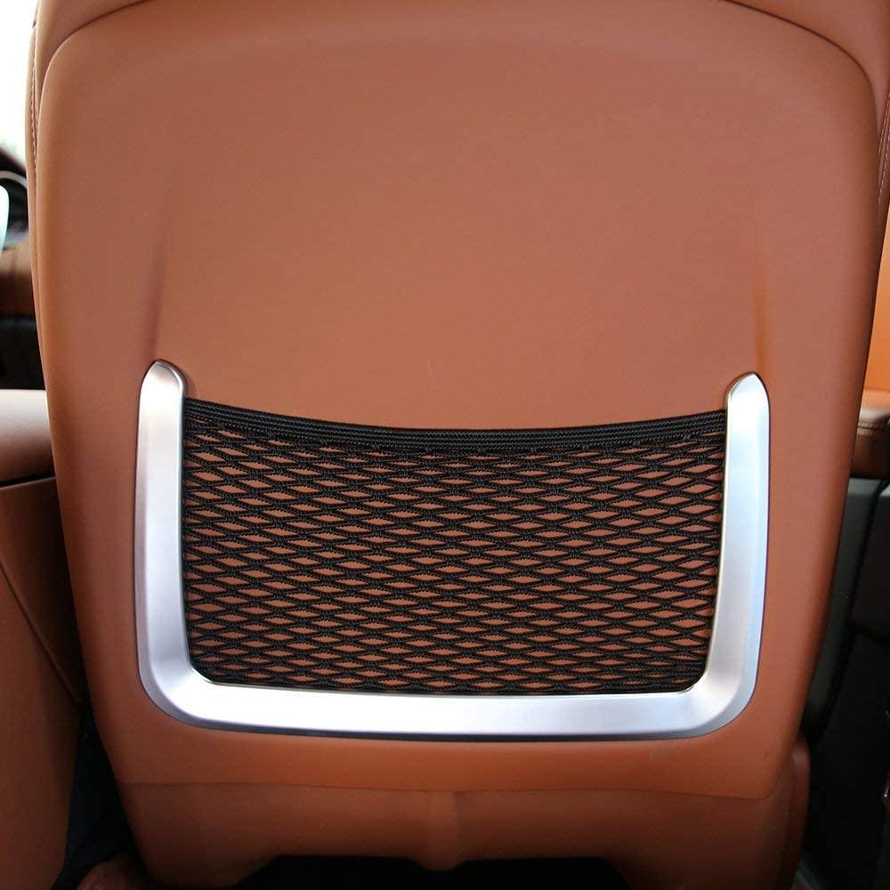 LLKUANG ABS 플라스틱 탄소 섬유 스타일 자동차 후면 좌석 뒷좌석 그물 가방 프레임 트림 마세라티 레반테 (실버)