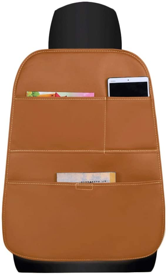 WGZ- 카시트 백 스토리지 가방 매달려 가방 카 뒷좌석 다기능 백레스트 테이블 수납 가방 내부 용품 백레스트 스토리지 (색상 : 브라운)