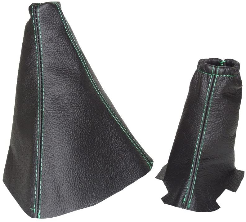 THE TUNING-SHOP LTD SHIFT EBRAKE BOOT COMPATIBLE RANGE ROVER P38 LEATHER GREEN STITCHING
