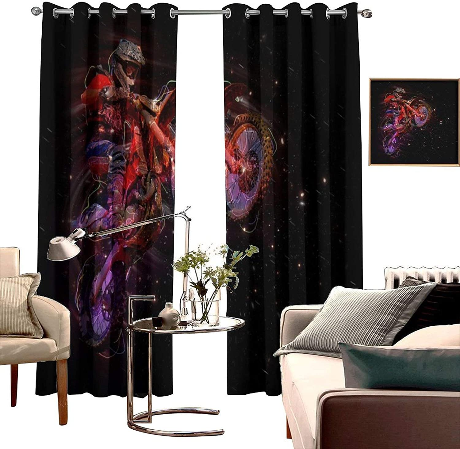 CRANEKEY 3D PRINTED ROOM DARKENED INSULATION GROMMET CURTAIN MOTORBIKE BIKER RACE SPEED MOTORCYCLIST MOTORCYCLE 2 PANELS THREE-LAYER BRAIDED NOISE REDUCTION RING TOP SHADE CURTAIN W100 X L84 INCH