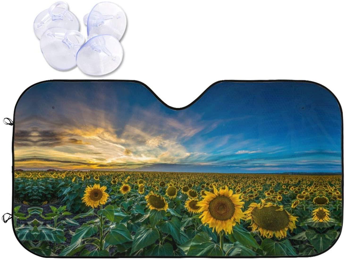 CAR WINDSHIELD SUN SHADE SUNFLOWER SUNSET FUNNY DESIGN AUTO SUNSHADE ACCORDION FOLDABLE FRONT WINDOW SUN VISOR BLOCKER FOR CAR SUV TRUCK