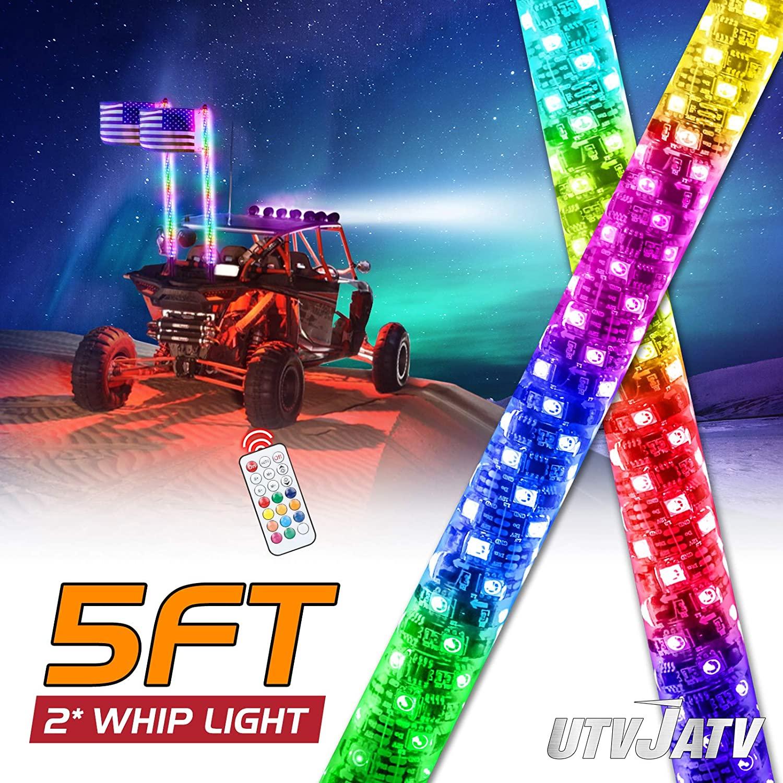 UTVJATV 5FT LED 채찍 조명 플래그 폴 RF 원격 제어 360° 나선형 LED RGB 체이스 댄스 라이트 오프로드 경고 캔 암 ATV UTV RZR 폴라리스 모래 언덕 버기 오프로드 트럭 (5피트 2PCS)