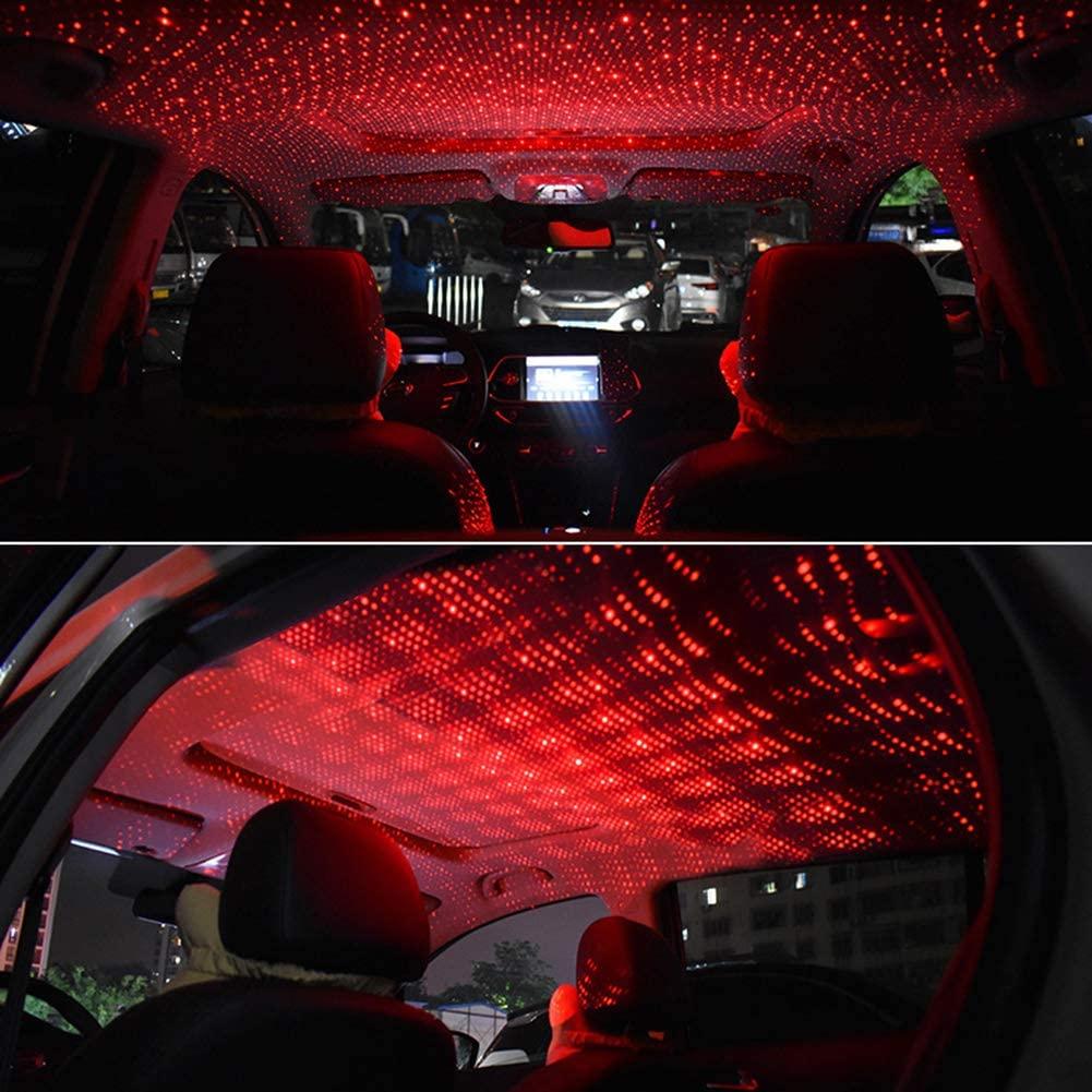 YESBAY LED 인테리어 자동차 조명 자동차 자동차 지붕 USB 인테리어 LED 장식 프로젝터 별별 별빛 레드 리모컨 없이
