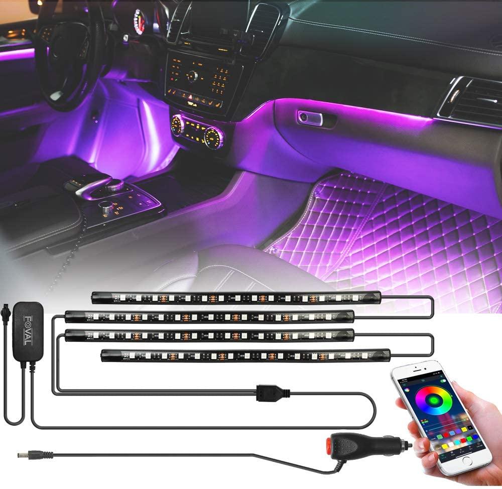 FOVAL 자동차 인테리어 조명 60 LED (30×2 2 라인) APP 컨트롤러 자동차 LED 스트립 조명 아이폰 안드로이드 폰 자동차 충전기 포함 DC 12V 대시 조명 키트에서 멀티 컬러 음악