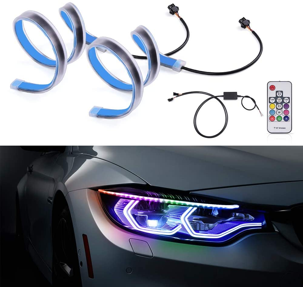 SS VISION 자동차 헤드라이트 표면 LED 스트립 튜브 라이트 - 원격 제어가 있는 RGB 멀티 컬러 데이타임 러닝 라이트 순차적 회전 신호 등 화이트 앰버 스위치백 라이트 방수 장식 램프