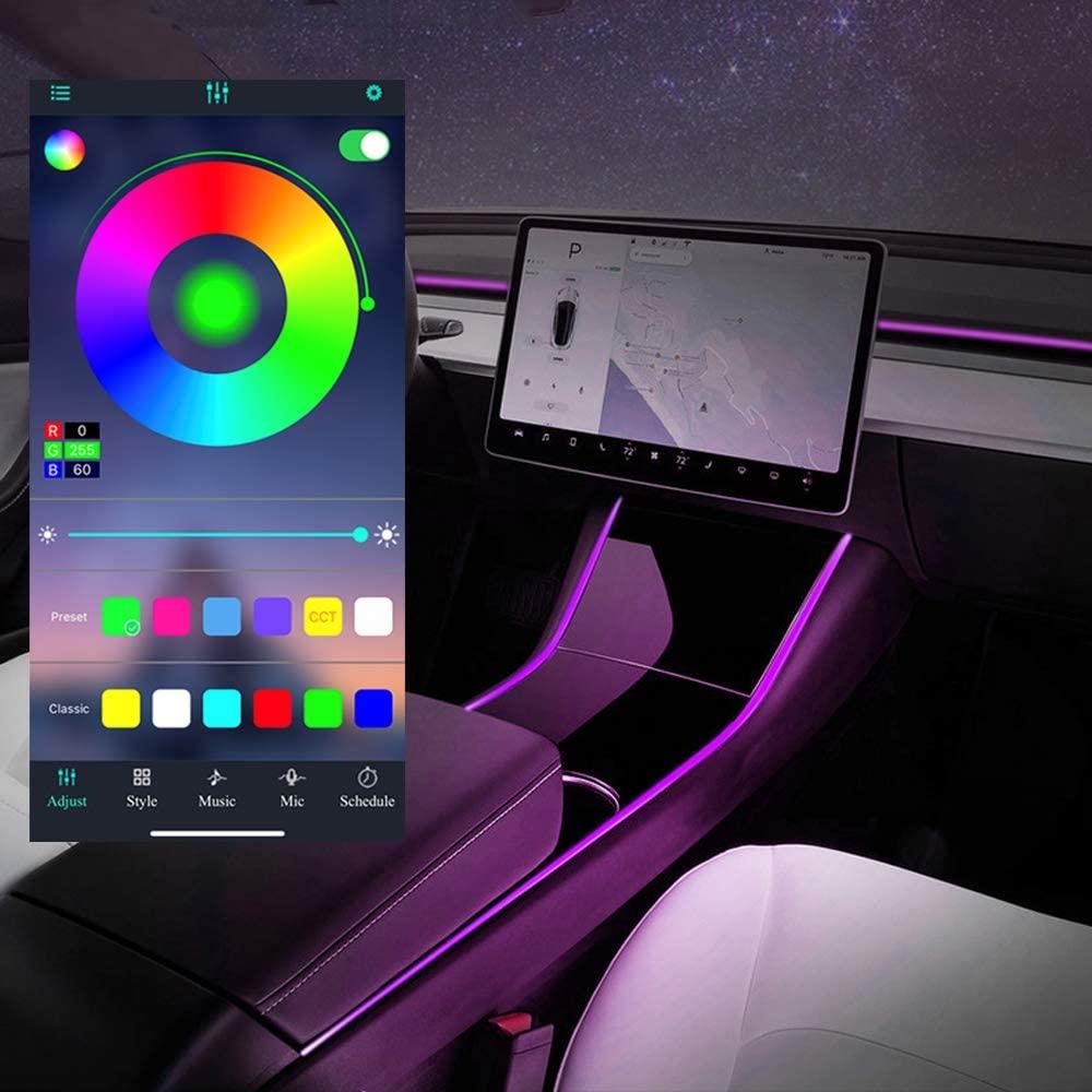 테슬라 모델 3 모델 Y 네온 라이트 튜브 RGB 인테리어 LED 스트립 조명 앱 컨트롤러