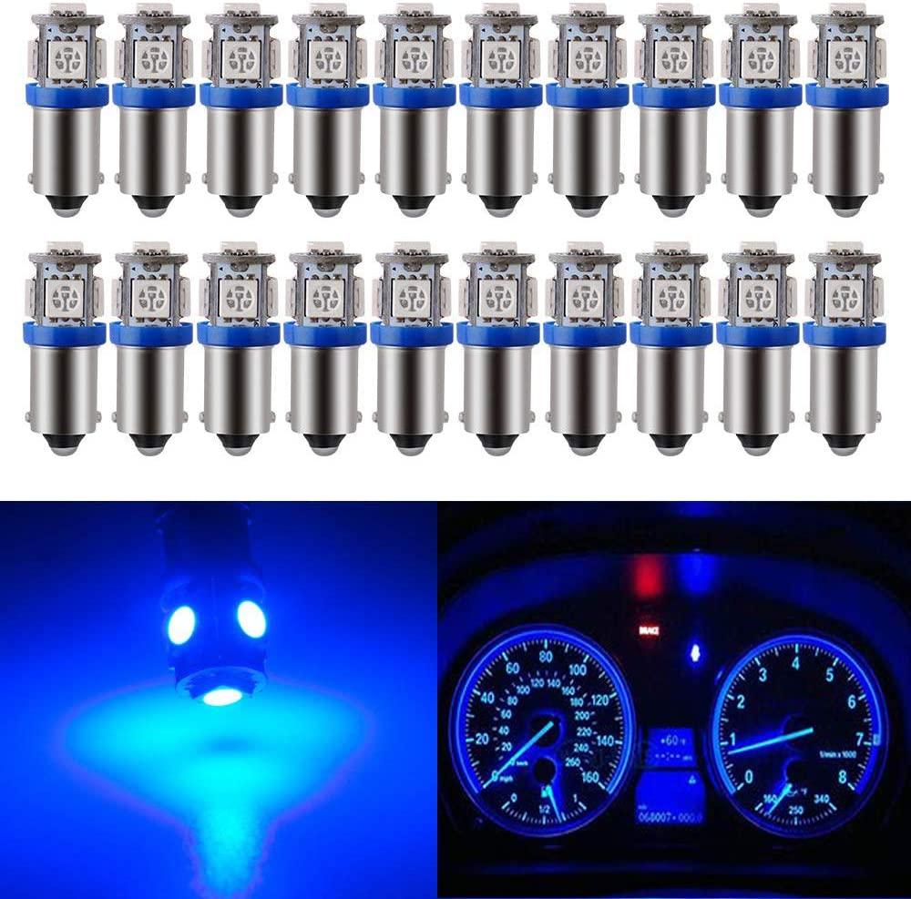 BLYLYB 20 팩 BA9 BA9S 53 57 1895 64111 블루 LED 자동차 전구 번호판 사이드 도어 무료 인테리어 돔 지도 조명