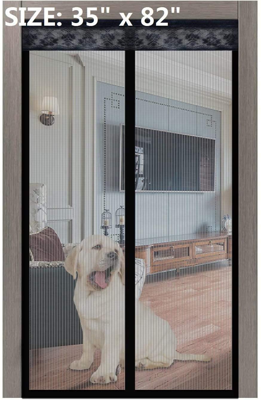 자기 화면 문 2020 년 새로운 02 35X82 인치 업그레이드 화면 문과 함께 강한 자석 무거운 의무는 메시 커튼 전체 프레임 HOOK&LOOP 프런트 문 아파트먼트 반대로 모기 버그 아이 애완 동물 친절한 입력
