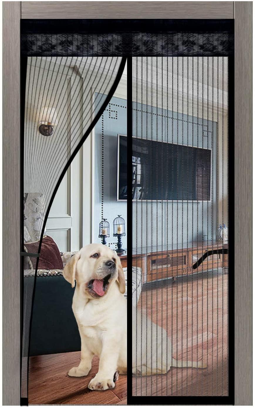 스크린도어진 자석 35X82 2020 업그레이드석 화면 문 셀프링 헤비 듀티 메시 커튼 전체 프레임을 걸 맞는 모든 문 반대로 모기 BUG 애완 동물이 입장 친절한 유지 열려 손으로 무료
