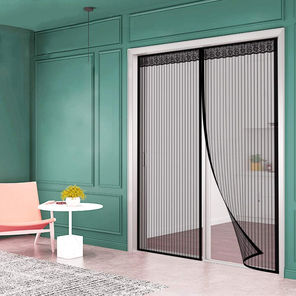 COEDOU MAGNETIC SCREEN DOOR HEAVY DUTY MESH CURTAIN AND FULL FRAME VELCRO STRIPES ENCRYPTION KEEP BUGS OUT LETS FRESH AIR IN - FITS DOORS UP TO 47 X 96-INCH