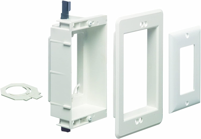 알링턴 LVU1W-1RECESSED 낮은 전압 장착 브래킷 페인트 벽 플레이트 1 갱 화이트(세 팩)