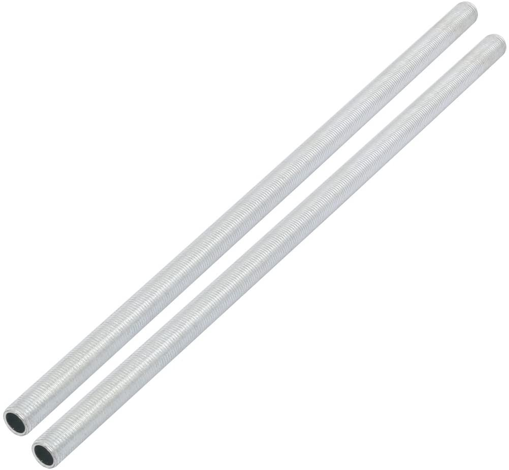 UXCELL 램프 파이프 젖꼭지 M10 스레드 280MM 길이 중공 램프 수리 부품 하드웨어 램프 조명 아연 도금 실버 톤 2 팩