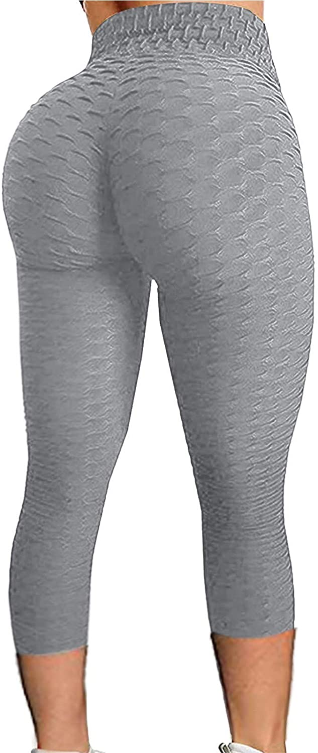 QWV WOMEN`S HIGH WAIST YOGA CAPRIS LEGGINGS WORKOUT SPORTS RUNNING ATHLETIC PANTS BUTT LIFTING TEXTURED TIGHTS TUMMY CONTROL SCRUNCHED BOOTY LEGGINGS