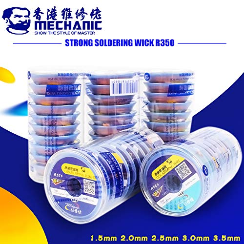 JAMMAS 10PCS | LOT SOLDER WICK REMOVER DESOLDERING WIRE 1.5 | 2.0 | 2.5 | 3.0 | 3.5MM DESOLDERING BRAID BGA WELDING REPAIR TOOLS - (DIAMETER: 1.5MM)