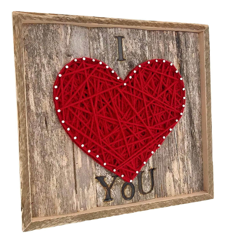프레임 나는 당신이 문자열 아트 하트 기호 플라크를 사랑 해요. 그를 위해 독특한 선물 발렌타인 데이. 그녀 아내 남편과 아이들 결혼식 5 주년. 소박한 매립 메인 나무로 만든
