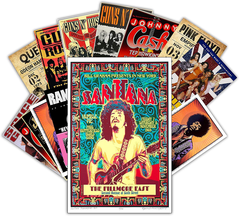 홍콩 스튜디오 빈티지 포스터 뮤직 밴드   룸 미적 90 년대   위한 자기 접착제 비닐 데칼 인디 포스터 복고풍 음악 포스터 벽 콜라주 키트   클래식 아트 포스터 밴드 음악 아트 7.8X11.8 팩 12