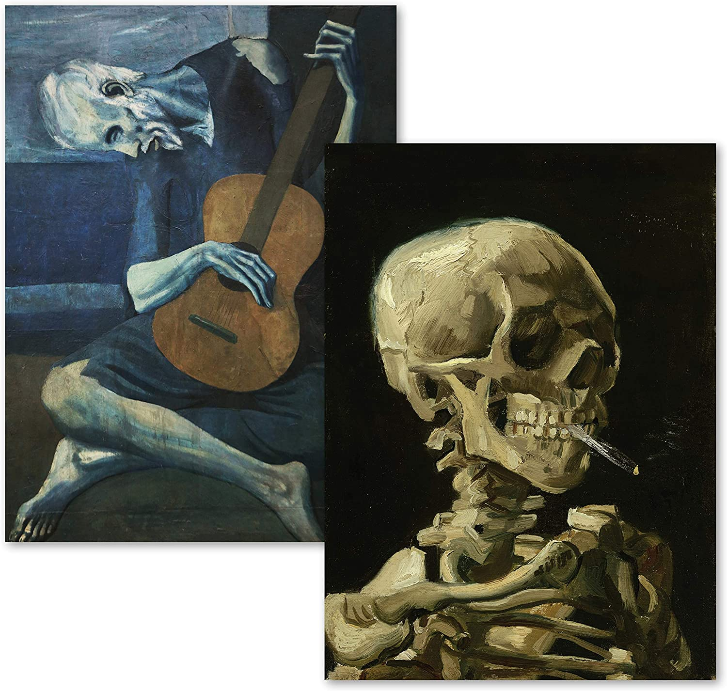 2 PACK - VAN GOGH SKELETON & THE OLD GUITARIST BY PABLO PICASSO POSTER PRINT SET - FINE ART (LAMINATED 18 X 24)