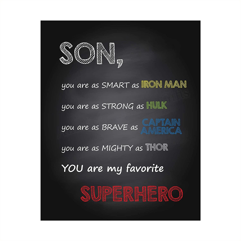아들 - 당신은 내가 가장 좋아하는 슈퍼 히어로 영감 벽 예술 기호 -8 X 10 예술 인쇄 포스터 인쇄 - 프레임 준비입니다. 완벽한 홈 키즈 베드룸 - 보육 장식. 마블 팬들을위한 훌륭한 장식