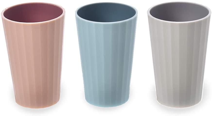 AIPNIS3 개 욕실 텀블러 컵 혼합 색상 디자인 부드럽고 부드러운 그립 칫솔잔 틴에이저를 위한 아이들 아이들 BPA FREE