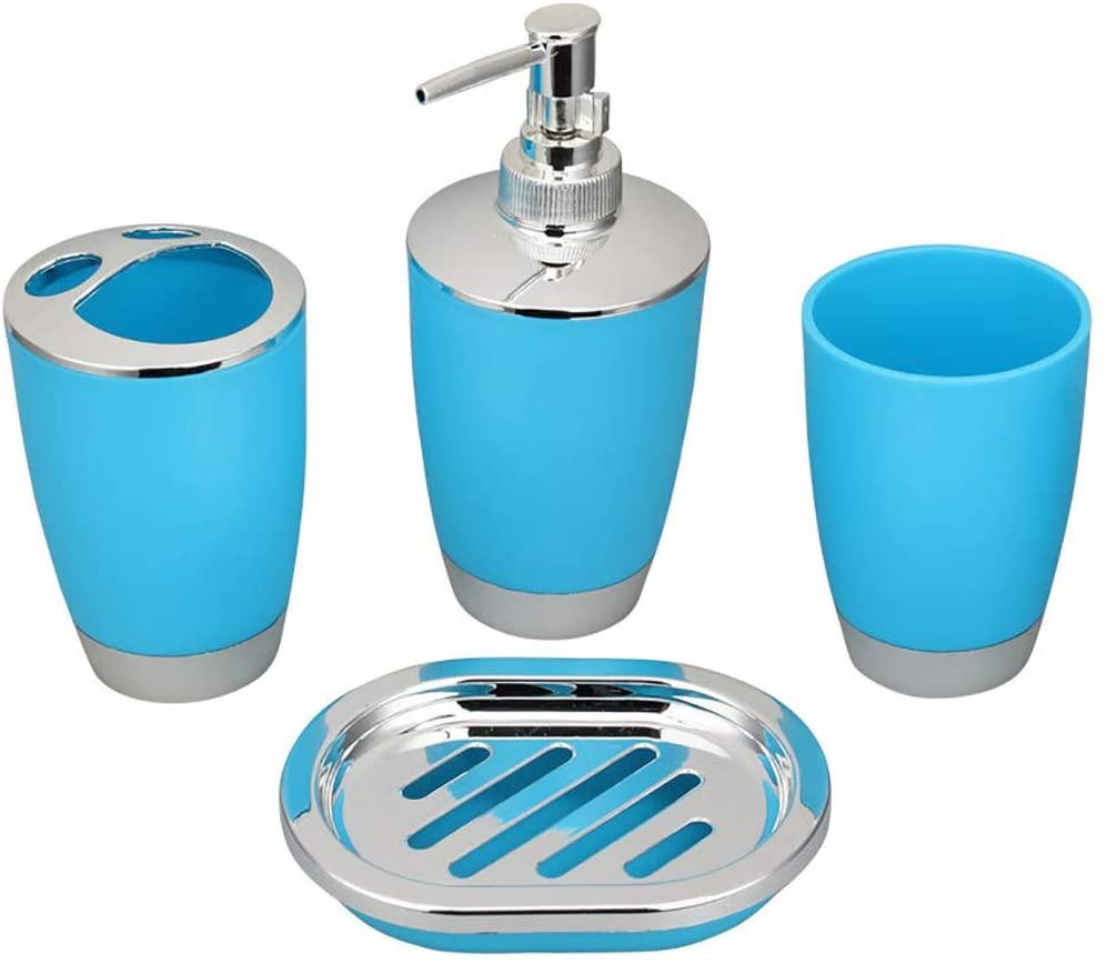 YEESPORT4PCS 욕실 액세서리 설정한 칫솔 컵 욕실 텀블러 컵 흰색과 은색 욕실 텀블러 컵 비누 욕실