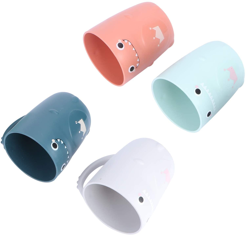 CABILOCK4PCS 어린이 칫솔 컵 욕실 텀블러화 공룡 구강 칫솔컵 멀티 사용하여 컵을 마시는 유아에 대한 아이들(4 색상을 혼합)