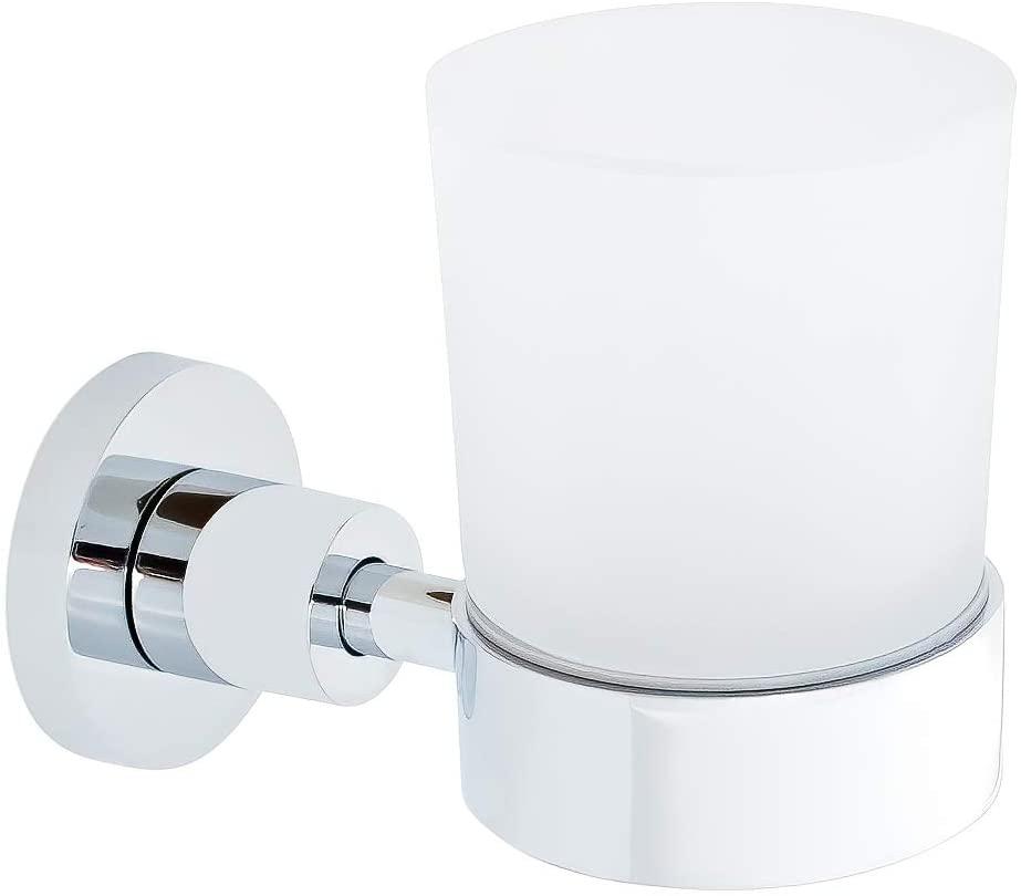 URBN.디자인-SCHIELE 시리즈-현대 싱글 텀블러 및 벽걸이 형 홀더 젖빛 유리 텀블러   컵이있는 세련된 크롬 마감