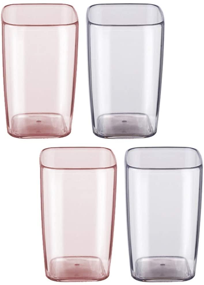 CABILOCK 욕실 2 개 텀블러 컵 투명한 휴식-저항하는 텀블러 물 한 컵을 마시는 저장하는 치과 액세서리 메이크업 브러쉬 분홍색 회색