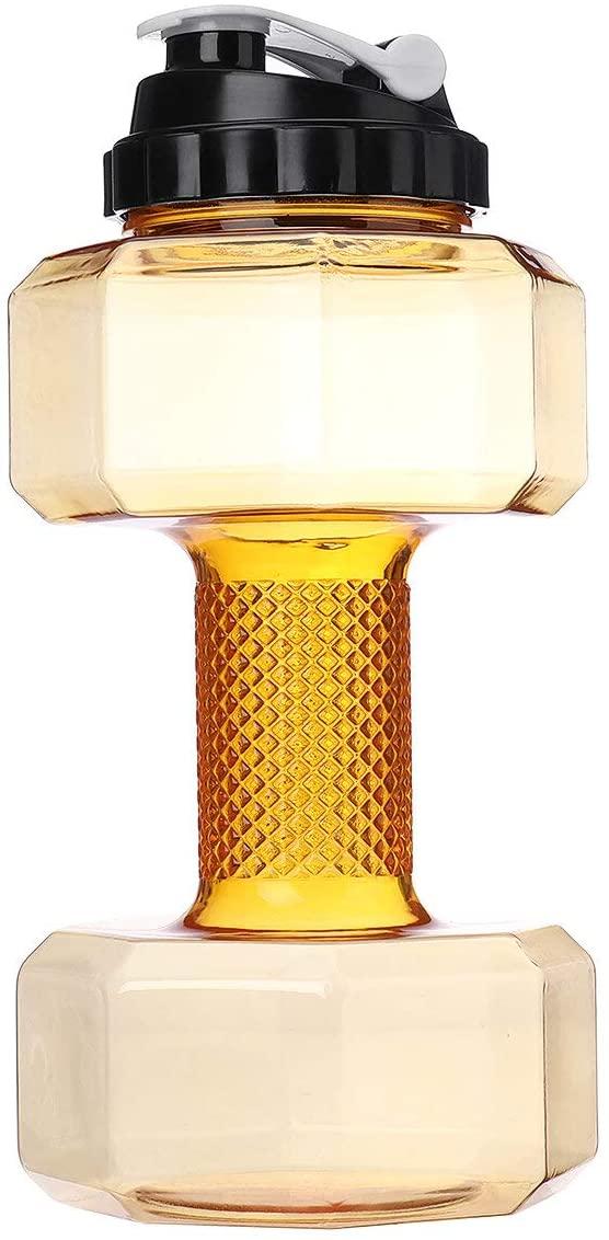 물 컵 2.2L 큰 아령 모양 물 컵 주전자 휴대용 스포츠 스포츠 헬스 병 HARLEY -SHOP(색상:노랑)