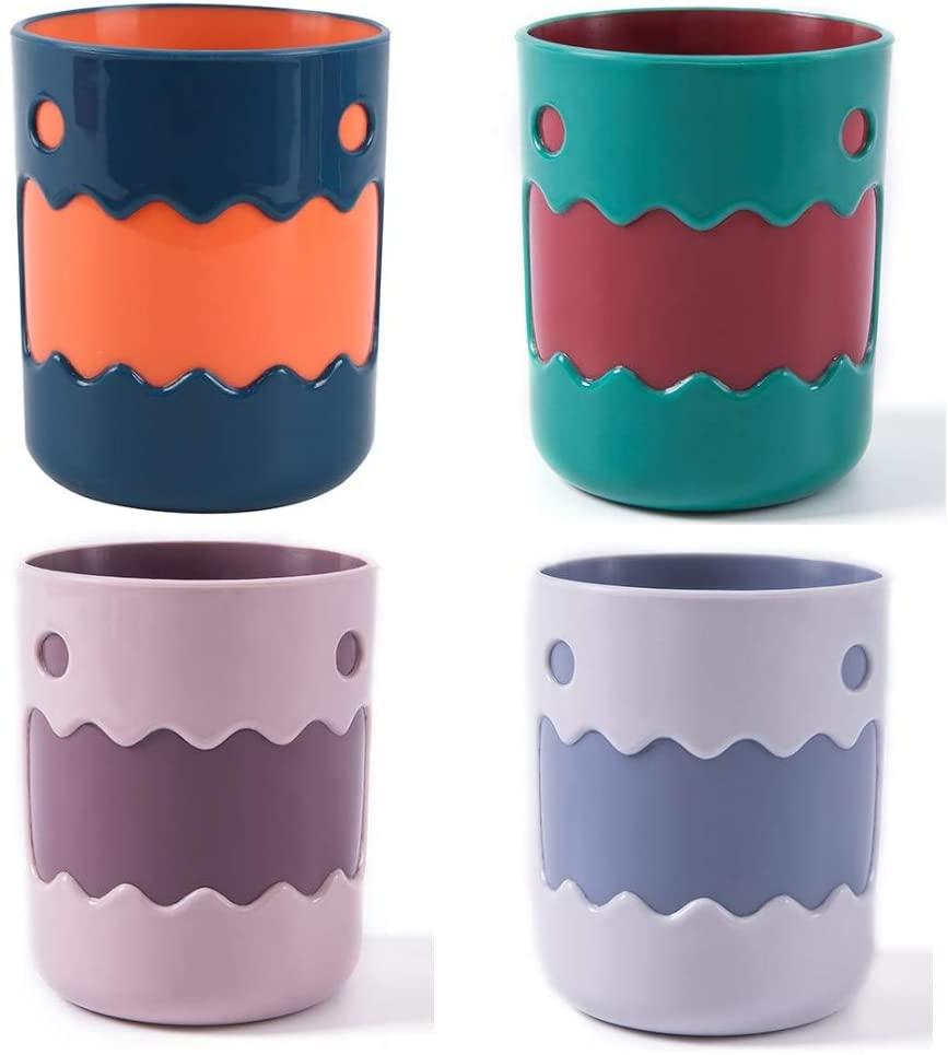 CHEESEANDU4PCS 깨지지 않는 욕실 텀블러 컵 귀여운 몬스터 친환경 13.5OZ 욕실 컵 BPA 무료 멀티컬러를 마시는 컵 칫솔은 머그컵에 대한 아이 커플 선물 친구